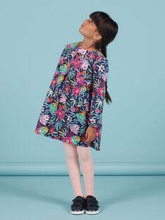 Kind Mädchen blaues Kleid mit buntem Blumendruck in Samt MAPLAROB2 / 21W901O1ROBC202