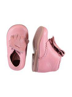 Rosa Lederstiefeletten mit abnehmbaren Fransen Baby Mädchen GBFBOTIPATP / 19WK37I1D0F030
