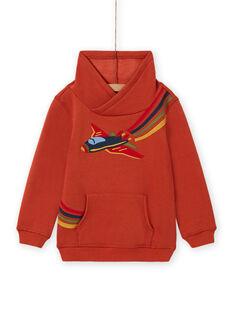 Oranges Sweatshirt für Jungen mit Flugzeugmotiv MOCOSWE / 21W902L1SWE408