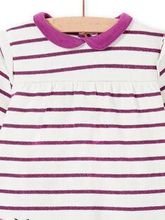 Gestreiftes Kleid für Baby Mädchen mit Schmetterlingstaschen MIPAROB2 / 21WG09H5ROB712