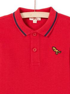 Rotes Poloshirt für Jungen mit langen Ärmeln MOJOPOL4 / 21W90211POL505