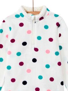 Fleecepullover für Mädchen mit bunten Punkten in Ecru MASKISWEA / 21W901R1SWE001