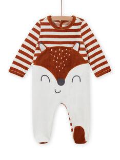 Gestreifter Samtstrampler mit Fuchsmuster Baby Junge MEGAGRENAR / 21WH1494GRE001