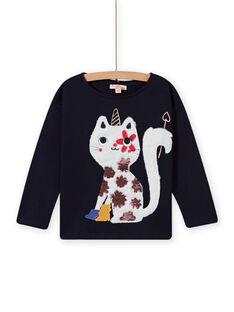 Nachtblaues T-Shirt für Kind Mädchen mit Katzen- und Einhornmotiv MAMIXTEE3 / 21W901J2TMLC205