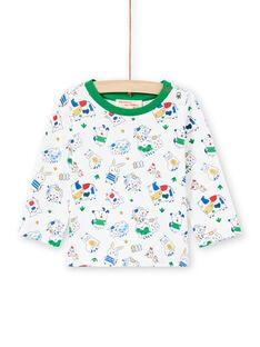 Baby Boy Weiß & Grün Tier Druck T-Shirt MUMIXTEE1 / 21WG10J1TML001