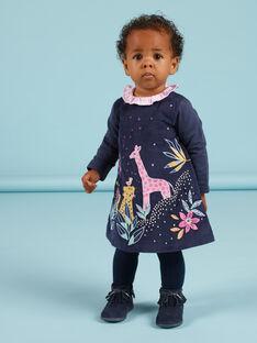 Baby Mädchen marineblaues Samtkleid mit gestickten Savannahs MIPLAROB1 / 21WG09O3ROBC202
