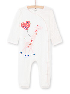 Baby-Mädchen-Strampler in Ecru mit Streifen und Tupfen MEFIGREGIR / 21WH1332GRE001