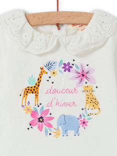 Baby Girl's Ecru Schleier Kragen Fantasy Blume T-Shirt MIPLABRA / 21WG09O1BRA001