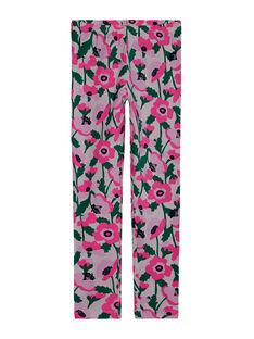 Mädchen-Leggings mit rosa Blumen und fluoreszierenden Details JYAPOELEG2 / 20SI01G1CAL301