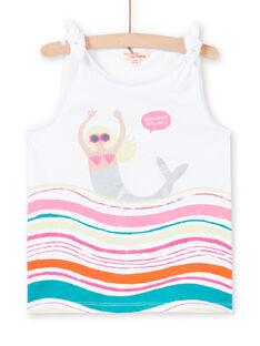 Weißes Tank-Top mit Meerjungfrau und Wellen Design Kind Mädchen LABONDEB2 / 21S901W2DEB000