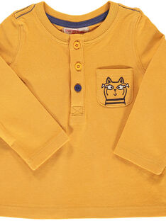 Baby boys' yellow long-sleeved T-shirt DUJOTUN5 / 18WG103BTML104