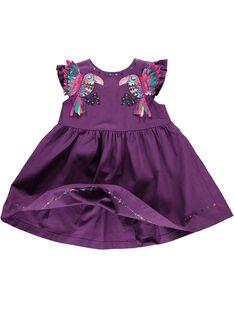 Baby girls' short-sleeved dress CIGAUROB3 / 18SG09L3ROB710
