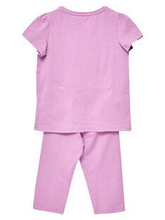 Mauvefarbener Kinderpyjama aus Jersey für Mädchen JEFAPYJTOUC / 20SH1122PYJH700