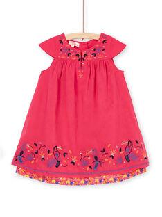 Rosa Kleid mit Tukan-Stickerei LANAUROB3 / 21S901P3ROBF507
