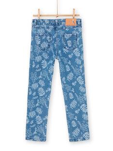 Blaue Jeans mit Blumendruck LANAUJEAN / 21S901P1JEAP274