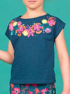 T-Shirt mit kurzen Ärmeln, gedruckte Blumen Animation und im Relief am Halsausschnitt LABONTI2 / 21S901W3TMC716