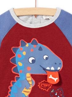 Langarm-T-Shirt für Baby-Jungen in Burgunderrot mit Dinosaurier-Print MUPATEE1 / 21WG10H1TML719