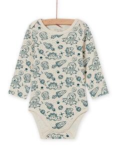 Baby Boy's ecru und blau Raum drucken lange Ärmel Bodysuit MEGABODCHA / 21WH14C2BDL080