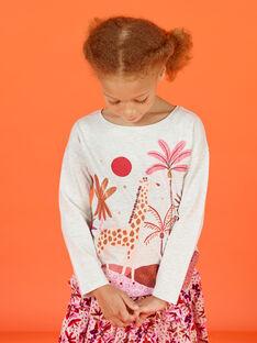 T-Shirt für Kind Mädchen in ecru meliert mit Fantasiemotiven MACOMTEE2 / 21W901L3TML006