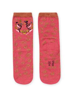 Rosa und goldene Leopardensocken für Mädchen MYAKACHO / 21WI01I1SOQD305
