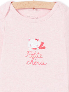Langärmeliger rosa Teddybär-Baby-Bodystocking für Mädchen LEFIBODCOU / 21SH132ABDLD314