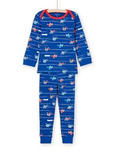 Baby-Jungen blau und rot gestreift und Hubschrauber Druck Pyjama-Set MEGOPYJAVIO / 21WH1285PYJC214