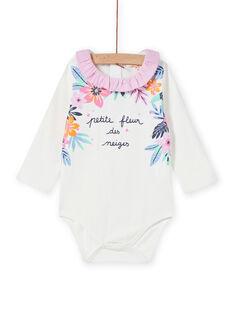 Baby-Mädchen-Bodys mit Rüschenkragen und Blumendruck MIPLABOD / 21WG09O1BOD001