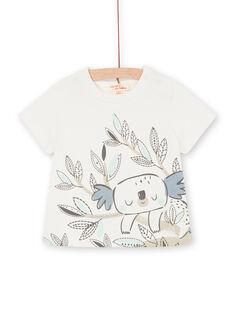 T-shirt ecru und khaki baby boy LUPOETEE3EX / 21SG10Y1TMC001