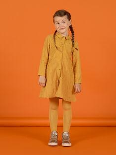 Gelbes Samtkleid für Mädchen mit ausgefallenem Muster MASAUROB3 / 21W901P1ROBB107