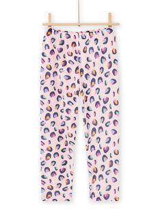 Schlafanzug-Set für Kind Mädchen aus rosa Samt mit Panther-Print MEFAPYJBOX / 21WH1197PYJ309