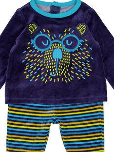 Marineblauer Schlafanzug mit gestreiften Samtstrümpfen für Babys Jungen GEGAPYJANI / 19WH14N1PYJ713