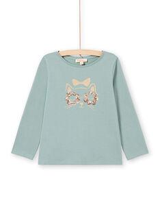 Langarm-T-Shirt für Mädchen mit paillettenbesetztem Katzenmotiv in Türkis MAJOYTEE4 / 21W9012CTML612