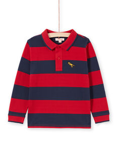Rot und marineblau gestreiftes Poloshirt für Jungen MOJOPOL6 / 21W90212POL505