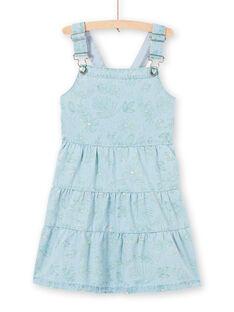 Baby Mädchen Hellblau Denim Latzhose mit Laub Druck LAVEROB4 / 21S901Q3ROBP272