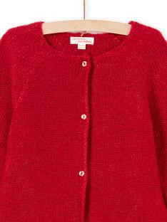Einfarbige langärmelige Weste für Mädchen rot MAJOCAR5 / 21W90121CAR511