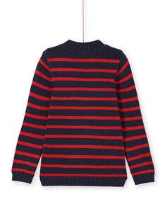 Marineblau und rot gestreifter Pullover für Jungen MOJOPUL3 / 21W90212PUL505