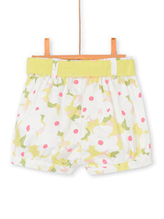 Weiße und gelbe Baby Mädchen floral print Shorts LIBALSHO / 21SG09O1SHO000