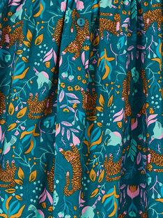 Ente blau und gelb Kleid mit Tiger und Blumendruck LAVEROB1 / 21S901Q2ROB714