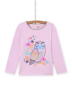 Baby-Mädchen-T-Shirt in Lavendel mit Eulen-Print MAPLATEE1 / 21W901O3TML326