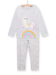 Kind Mädchen grauer Fleece-Pyjama mit phosphoreszierendem Lama-Muster MEFAPYJLAM / 21WH1194PYJJ920