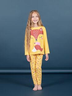 Mädchen gelb und orange Pyjama-Set T-Shirt und Hose MEFAPYJFOX / 21WH1174PYG010