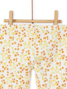 Leggings mit ecru und gelbem Blumendruck Baby Mädchen LINAUPAN / 21SG09L1PAN001