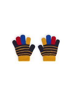 Mehrfarbig gestreifte Strickhandschuhe für Jungen MYOGROGAN1 / 21WI0252GAN705