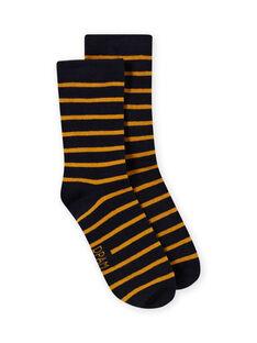 Gelb und marineblau gestreifte Söckchen für Jungen MYOJOCHOR4 / 21WI0214SOQ113