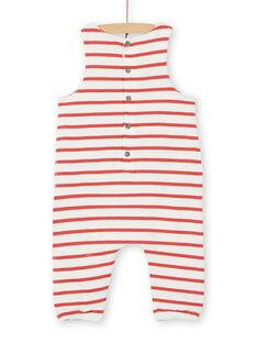 Wende-Latzhose ecru und rot aus Baumwolle baby boy LUNOSAL / 21SG10L1SAL001