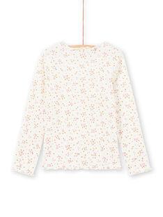 Langärmeliges geripptes T-Shirt für Mädchen in Ecru mit Blumenmuster MAJOUTEE4 / 21W90128TML001