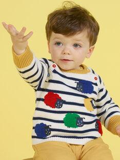 Ecru und marineblau gestreifter Pullover für Baby-Jungen MUMIXPUL / 21WG10J1PUL001