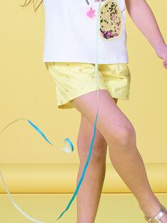 Gelbe Shorts mit paillettenbesetztem Fruchtdruck LAJAUSHORT / 21S901O1SHO116