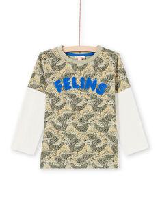 T-Shirt für Jungen mit Leopardenmuster in Blau und Khaki MOKATEE3 / 21W902I2TML612
