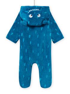 Baby Junge blauer Kapuzen-Strampler mit Monstermotiv MEGASURPYJ / 21WH1491SPY715